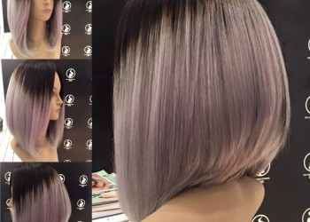 1B VioletGrey bob wig